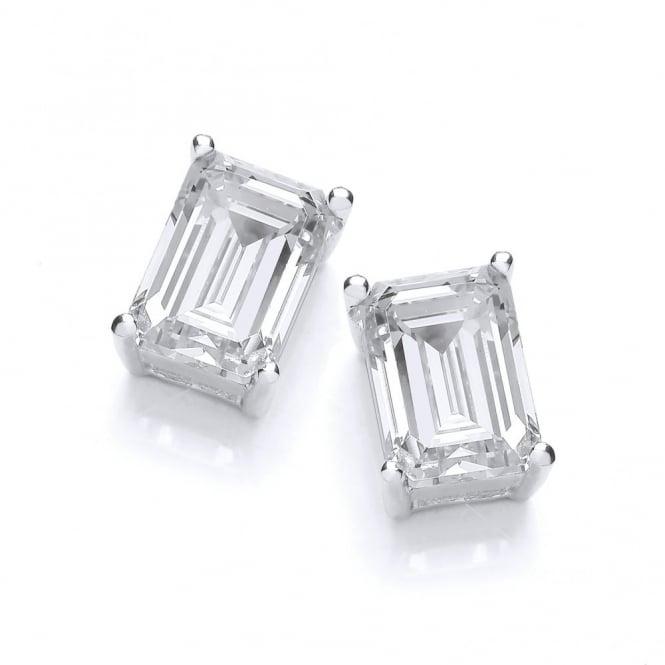 DiamonDust Jewellery Sterling Silver Octagon Cut Stud Earrings Made With Swarovski Zirconia