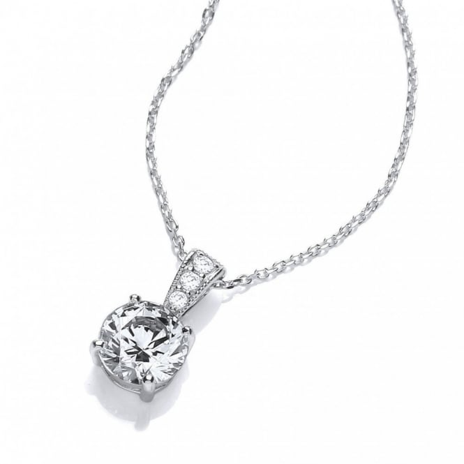 DiamonDust Jewellery Sterling Silver Ornately Set Solitaire Pendant & Chain Made with Swarovski Zirconia
