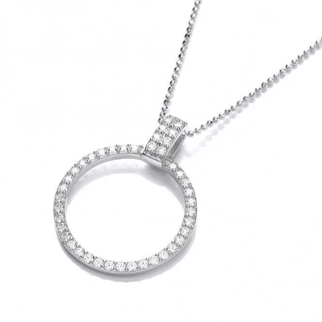 DiamonDust Jewellery Sterling Silver Pave Set Circle Necklace Made With Swarovski Zirconia