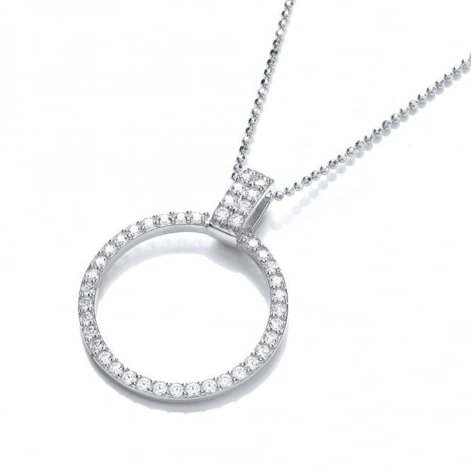 DiamonDust Jewellery Sterling Silver Pave Set Circle Necklace Made With Swarovski Zirconia