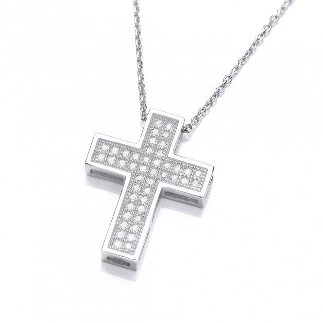 DiamonDust Jewellery Sterling Silver Pave Set Cross Necklace Made With Swarovski Zirconia