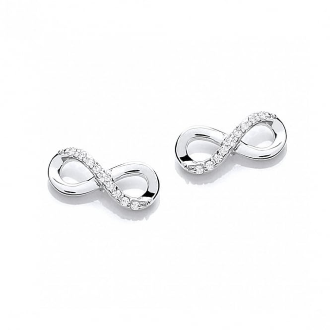 DiamonDust Jewellery Sterling Silver Pave Set Infinity Stud Earrings Made with Swarovski Zirconia