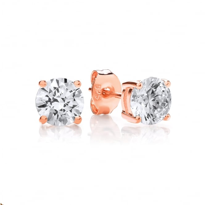 DiamonDust Jewellery Sterling Silver & Rose Gold Plated 6mm Solitaire Claw Set Studs Made with Swarovski Zirconia