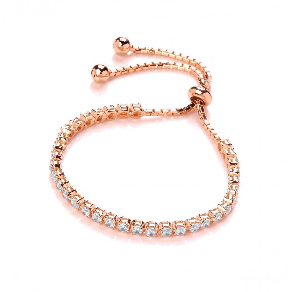 23e3da8d1f1438 Sterling Silver & Rose Gold Plated Classic Tennis Friendship Bracelet  Made with Swarovski Zirconia