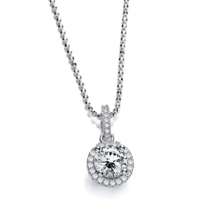 DiamonDust Jewellery Sterling Silver Round Cluster Necklace Made with Swarovski Zirconia