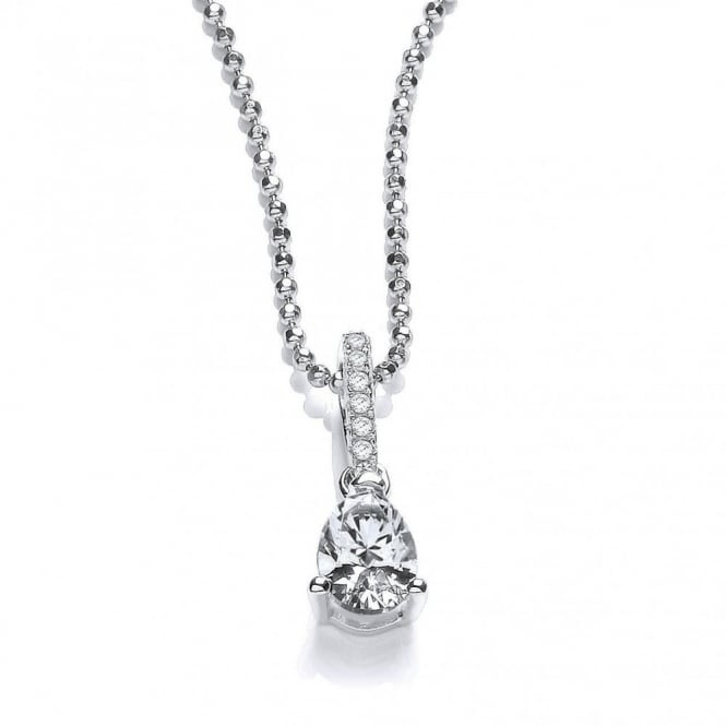 DiamonDust Jewellery Sterling Silver Simple Tear Drop Shaped Drop Pendant & Chain Made with Swarovski Zirconia