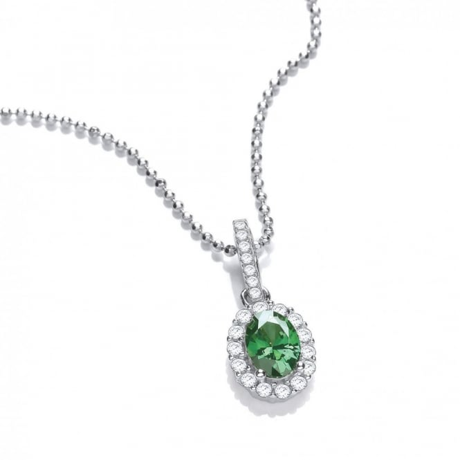 DiamonDust Jewellery Sterling Silver Small Green Oval Necklace Made with Swarovski Zirconia
