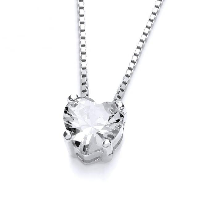 DiamonDust Jewellery Sterling Silver Small Heart Claw Set Necklace Made with Swarovski Zirconia