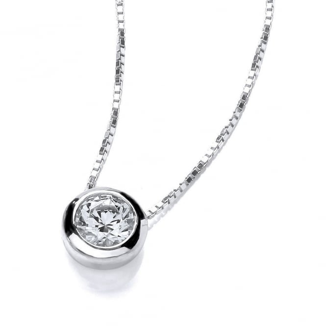 DiamonDust Jewellery Sterling Silver Small Solitaire Solid Set Solitaire Necklace Made with Swarovski Zirconia