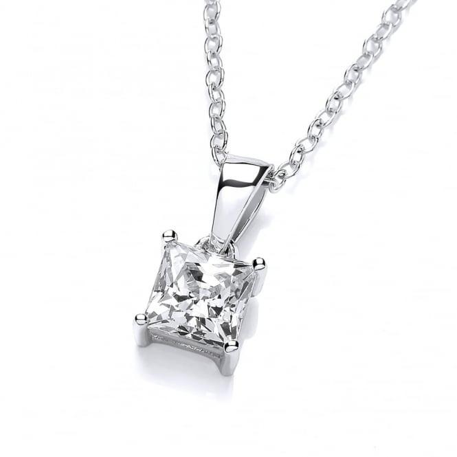 DiamonDust Jewellery Sterling Silver Small Square Pendant & Chain Made with Swarovski Zirconia