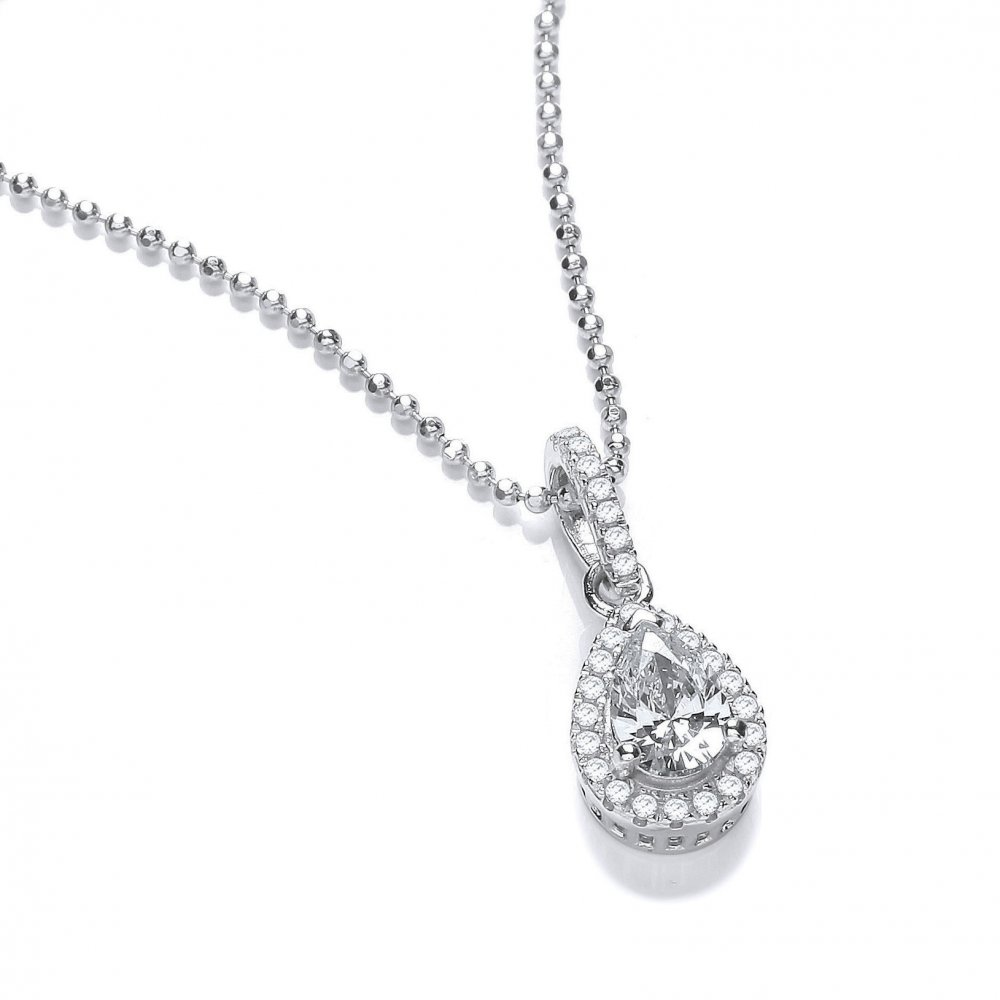 silver teardrop pave necklace sterling jon simply from sale zoom