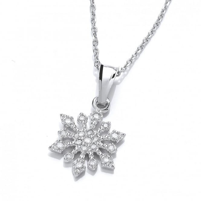 DiamonDust Jewellery Sterling Silver Snowflake & Ice Drop Necklace Made with Swarovski Zirconia