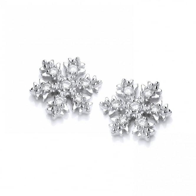 DiamonDust Jewellery Sterling Silver Snowflake & Ice Stud Earrings Made with Swarovski Zirconia