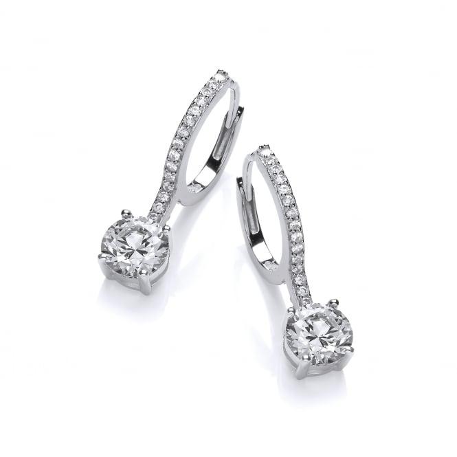 DiamonDust Jewellery Sterling Silver Solitaire Drop Ornate Hoop Earrings Made with Swarovski Zirconia