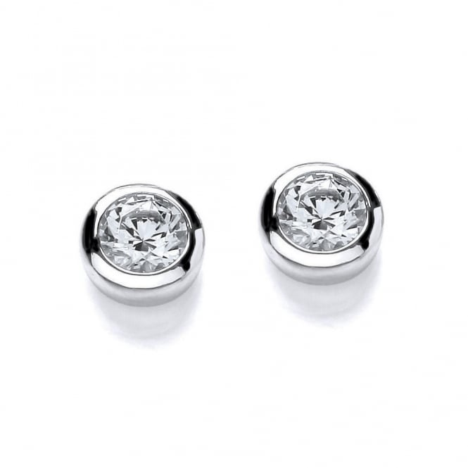 DiamonDust Jewellery Sterling Silver Solitaire Solid Set Earrings Made with Swarovski Zirconia