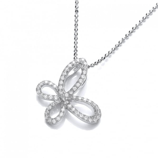 DiamonDust Jewellery Sterling Silver Sparkly Butterfly Pendant & Chain Made with Swarovski Zirconia