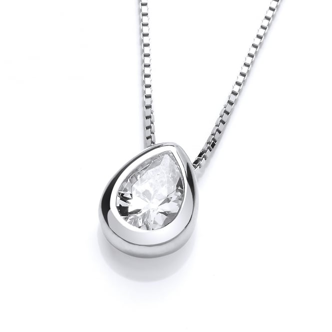 DiamonDust Jewellery Sterling Silver Tear Drop Solitaire Solid Set Solitaire Necklace Made with Swarovski Zirconia
