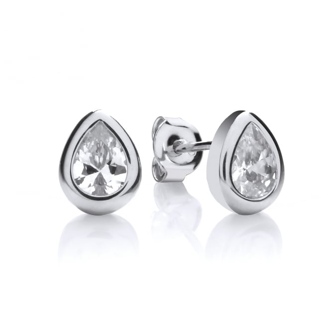 DiamonDust Jewellery Sterling Silver Tear Drop Solitaire Solid Set Stud Earrings Made with Swarovski Zirconia