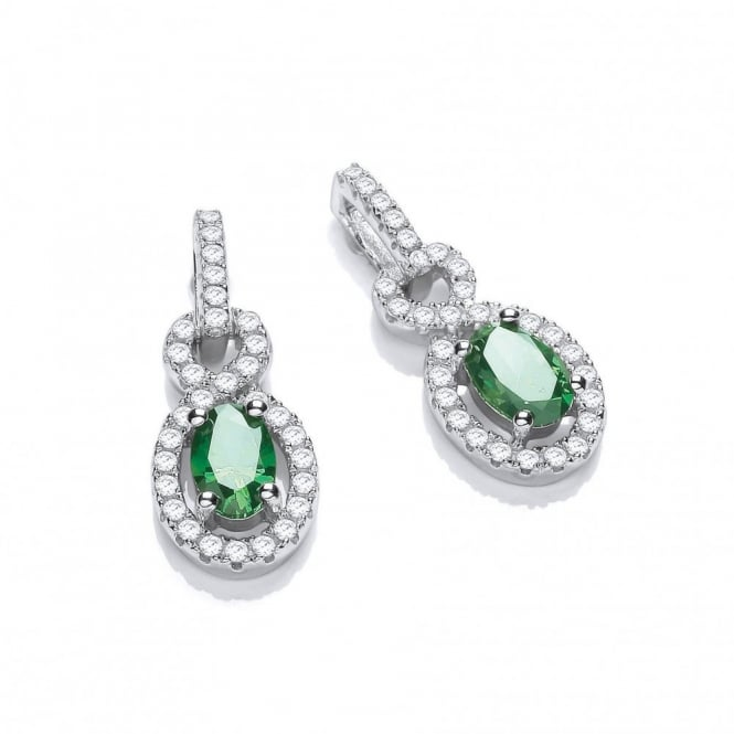 DiamonDust Jewellery Sterling Silver Twist Drop Green Earrings Made with Swarovski Zirconia
