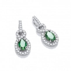 Sterling Silver Twist Drop Green Earrings Made with Swarovski Zirconia