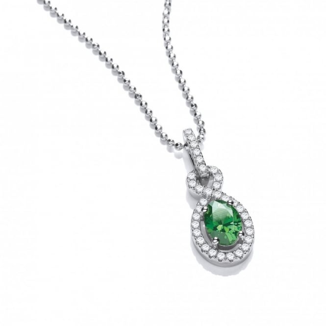 DiamonDust Jewellery Sterling Silver Twist Drop Green Necklace Made with Swarovski Zirconia