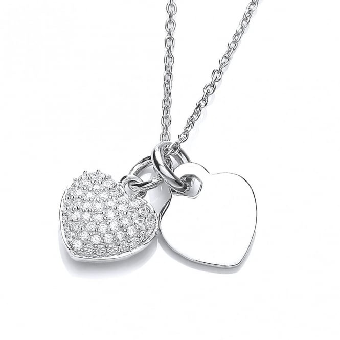 DiamonDust Jewellery Sterling Silver Two Heart Necklace Made With Swarovski Zirconia