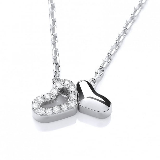 DiamonDust Jewellery Sterling Silver Two Hearts Necklace Made With Swarovski Zirconia