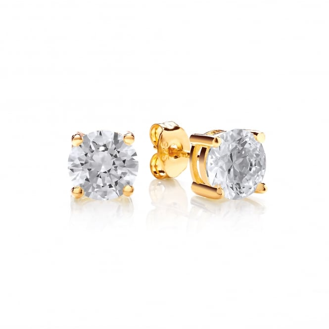 DiamonDust Jewellery Sterling Silver & Yellow Gold Plated 7mm Solitaire Claw Set Studs Made with Swarovski Zirconia