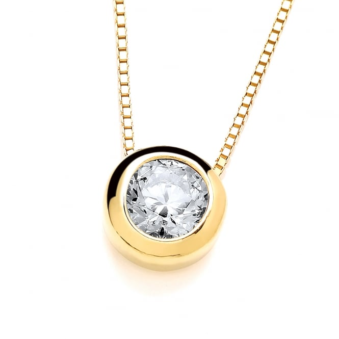 DiamonDust Jewellery Sterling Silver Yellow Gold Plated Small Solitaire Solid Set Solitaire Necklace Made with Swarovski Zirconia