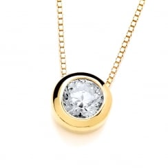 Sterling Silver Yellow Gold Plated Small Solitaire Solid Set Solitaire Necklace Made with Swarovski Zirconia