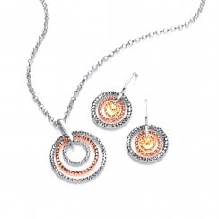 Sterling Silver & Gold Plated Diamond Cut Multi Hoop Necklace & Earrings Set